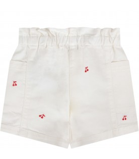 White short for baby girl with cherries