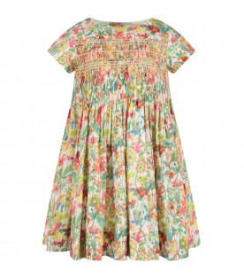 Multicolor girl dress with flowers
