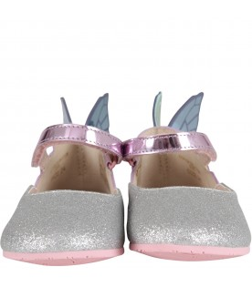 "Silver glitter ""Chiara Junior'' flat shoes"