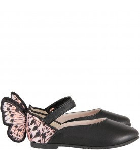 "Black ""Chiara Embroidery Infant'' flat shoes"