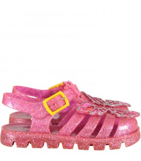 Neon fuchsia ''Butterflay Jelly'' sandals