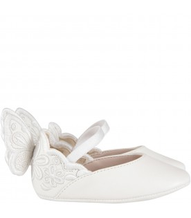 White ''Chiara Broderie Baby'' flat shoes