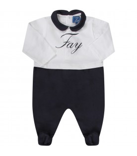 White and blue babyboy suit with logo