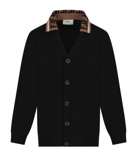 Black kids cardigan with double FF
