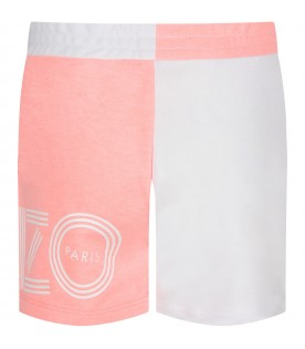 Pink and white short for girl with logo