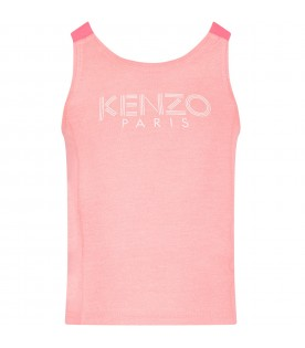 Pink girl tank top with logo