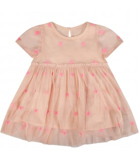 Pink babygirl dress with hearts