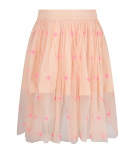 Pink girl skirt with neon fuchsia hearts