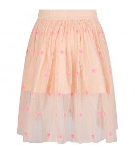 Pink skirt for girl with neon fuchsia hearts