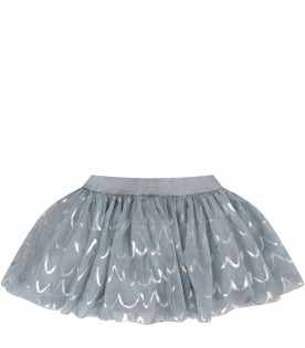 Light blue skirt for baby girl with silver waves