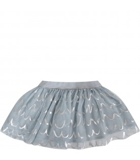 Light blue babygirl skirt with silver waves
