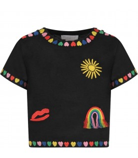 Black girl blouse with colorful hearts