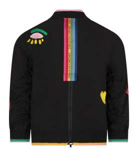 Black girl bomber jacket with embrodery