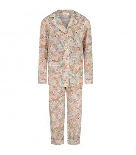 Ivory pajamas for girl with flowers
