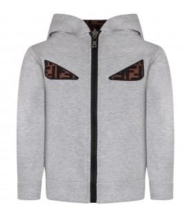 Grey and brown kids jacket with iconic eyes