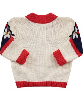 White, blue and red babygirl cardigan with flowers