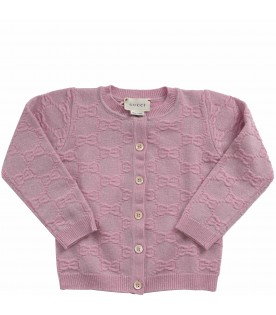 Pink babygirl cardigan with double GG