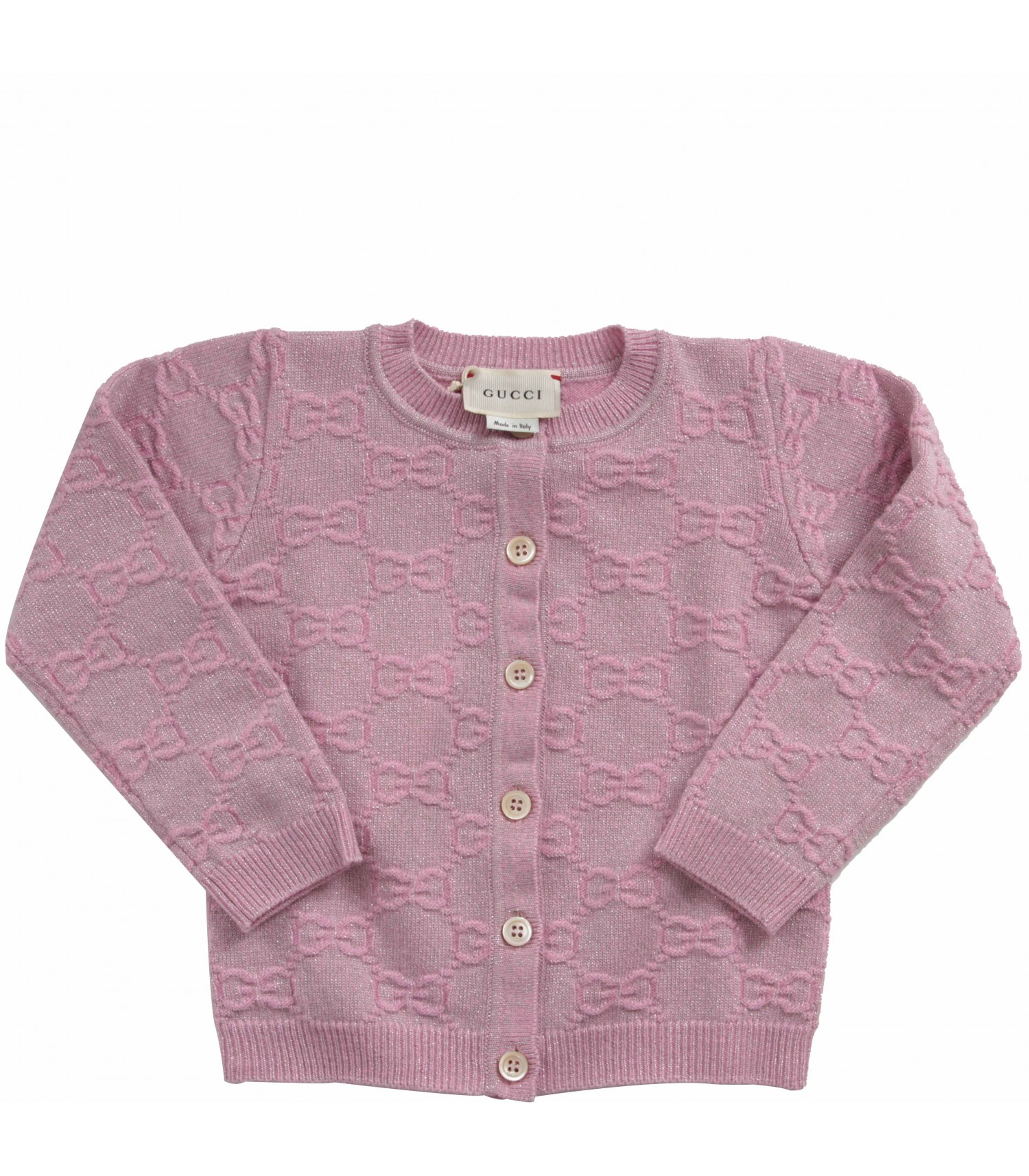 Gucci Kids Pink babygirl cardigan with double GG