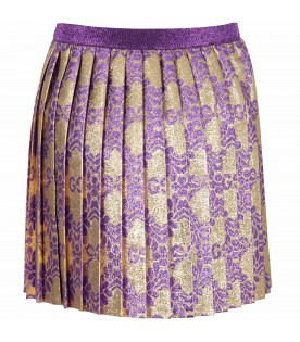 Gold girl skirt with double GG and flowers