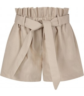 Beige girl short with logo