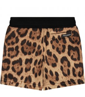 Brown babygirl short with animalieri print