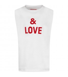 White kids tank top with red writing