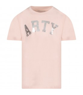 Pink girl T-shirt with silver writing