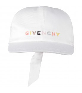 White girl hat with colorful logo