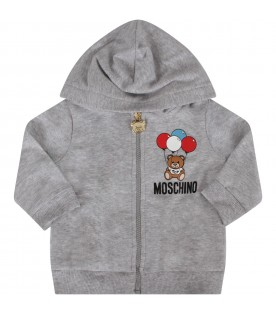 Grey babyboy tracksuit with Teddy Bear and balloons