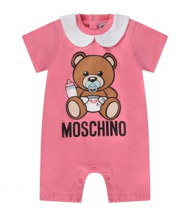 Pink babygirl rompers with baby Teddy Bear