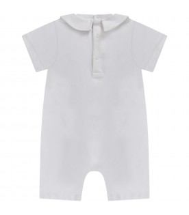 White babykids rompers with baby Teddy Bear