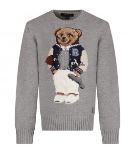 Grey boy sweater with colorful bear