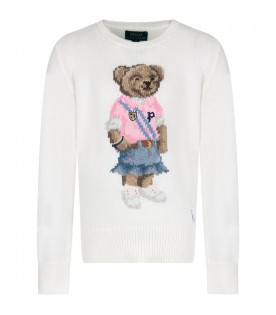 Ivory girl sweater with colorful bear
