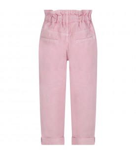 Pink ''Isabella'' girl pants with iconic D