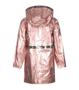 Pink girl rainproof parka with logo