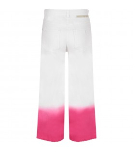 White girl jeans with fuchsia hemline