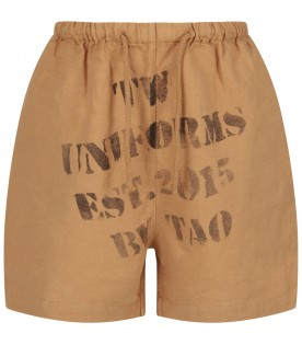 Camel girl short with black writing