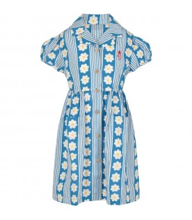 Light blue and white girl dress with flowers