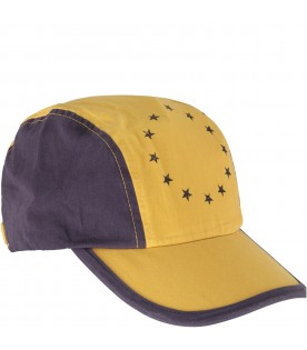Blue and yellow kids hat with stars