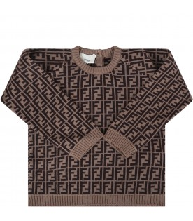 Brown newborn sweater with double FF