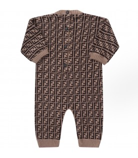 Brown babykids babygrow with double FF