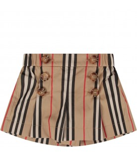 Beige babygirl short with iconic stripes