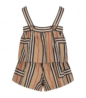 Beige girl jumpsuit with iconic stripes