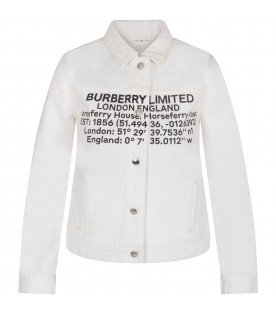 White kids jacket with logo and writing