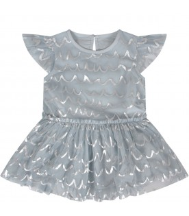 Light blue babygirl dress with siver waves