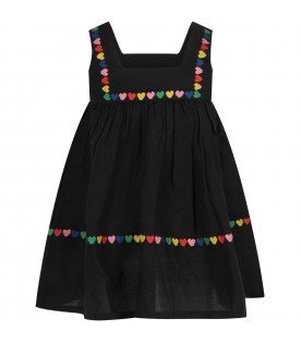 Black girl dress with colorful hearts