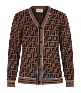 Brown boy cardigan with double FF