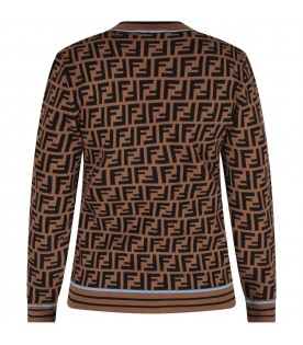 Brown cardigan with double FF for boy