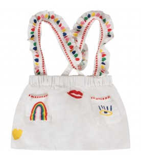 White babygirl overalls with colorful embroidery
