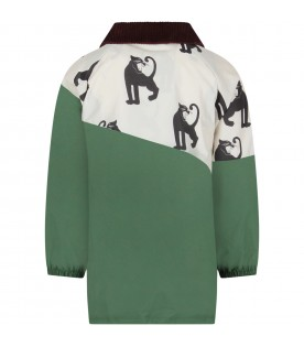 Ivory and green boy windbreaker with panthers